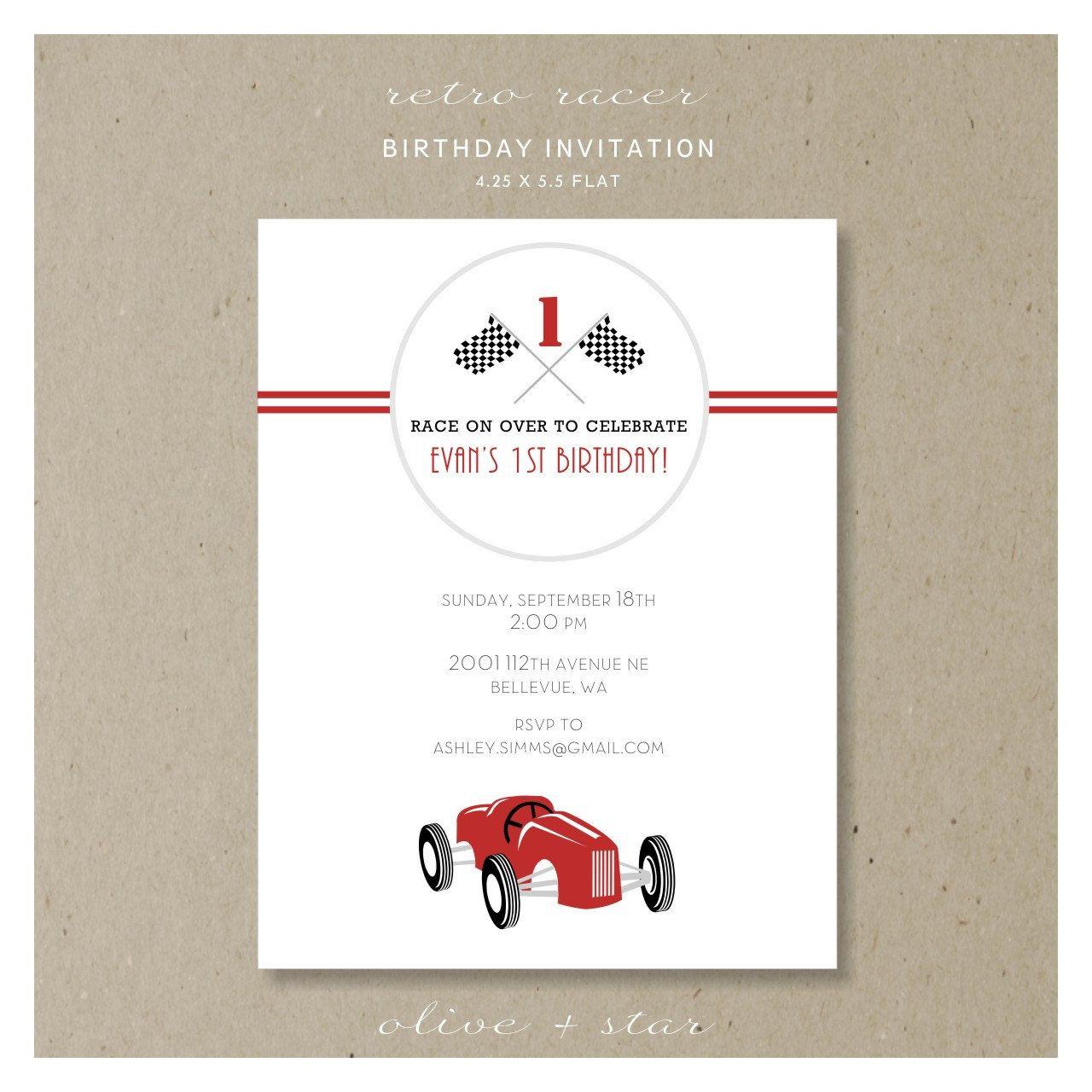 retro race car birthday invitation set : RESERVED LISTING jessica ...