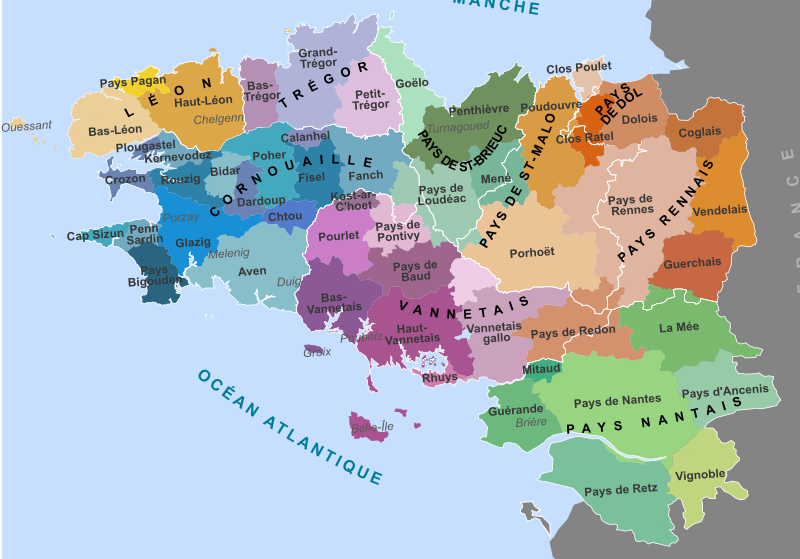 Map of the traditional regions of Brittany (France