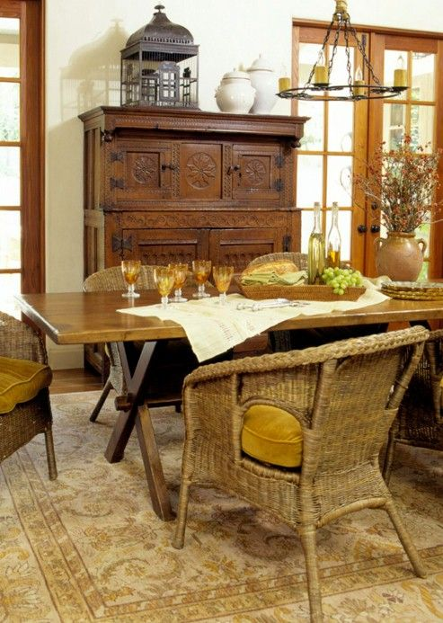 Familyfriendly Wicker Chairs Surround This Homeownercrafted Pleasing Old Fashioned Dining Room Sets Decorating Design