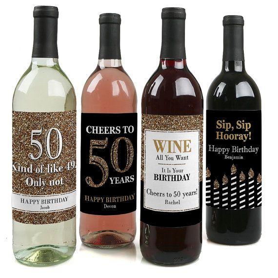 50th Birthday Wine Bottle Labels Custom Adult Birthday Gold Wine