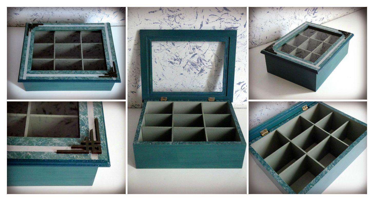 Caja con 9 divisiones, practiquísima y decorativa.