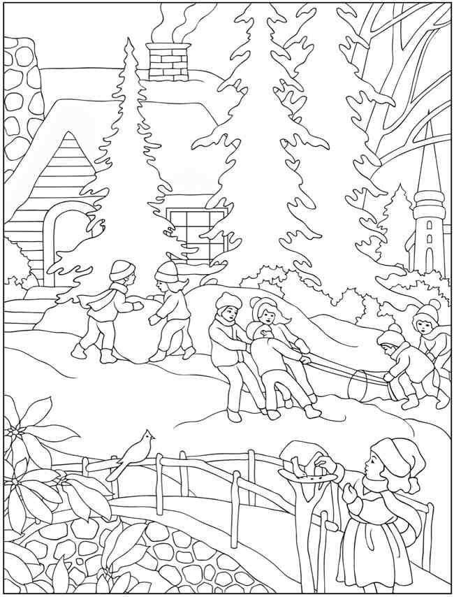 Winter - Coloring Books Boyama sayfaları Desenler Çizimler