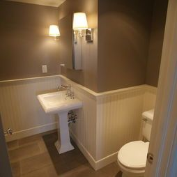 White Pedestal Sink With Grey Walls And White Beadboard. Bathroom Pedestal  Sinks Design, Pictures Part 23