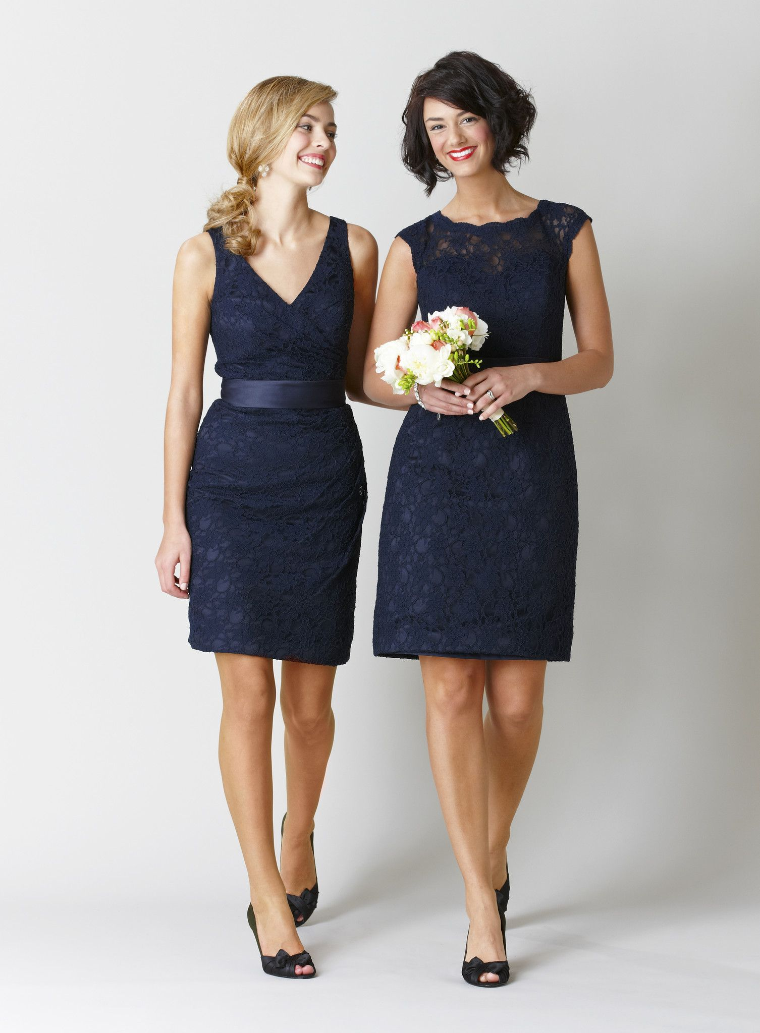 Harper love the lace bridesmaids and navy blue bridesmaids
