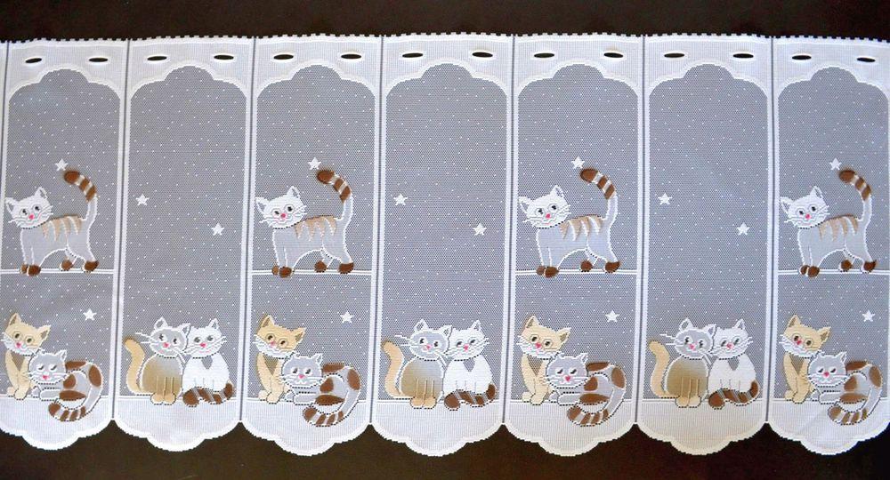 Katzen Scheibengardine In 7 Breiten Kätzchen Kindergardine Bistrogardine  Küche