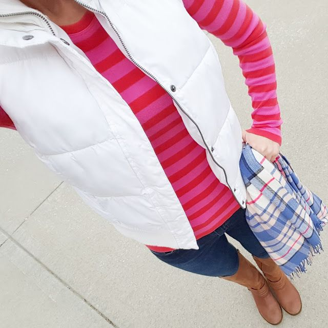 A striped top is perfect under a puffer vest, especially with a plaid scarf to contrast!