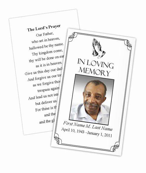 Memorial Card Template Beautiful Praying Hands Memorial