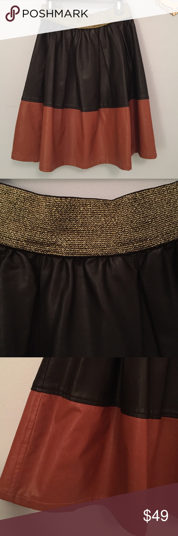 Anthropologie Faux-Leather Color Block Skirt By Champagne & Strawberry, purchased at Anthro for a pretty penny, this soft leather A-line skirt has a stretchy waste line glittered with gold, and a zipper back. Size 4P but fits like a normal S. Anthropologie Skirts A-Line or Full