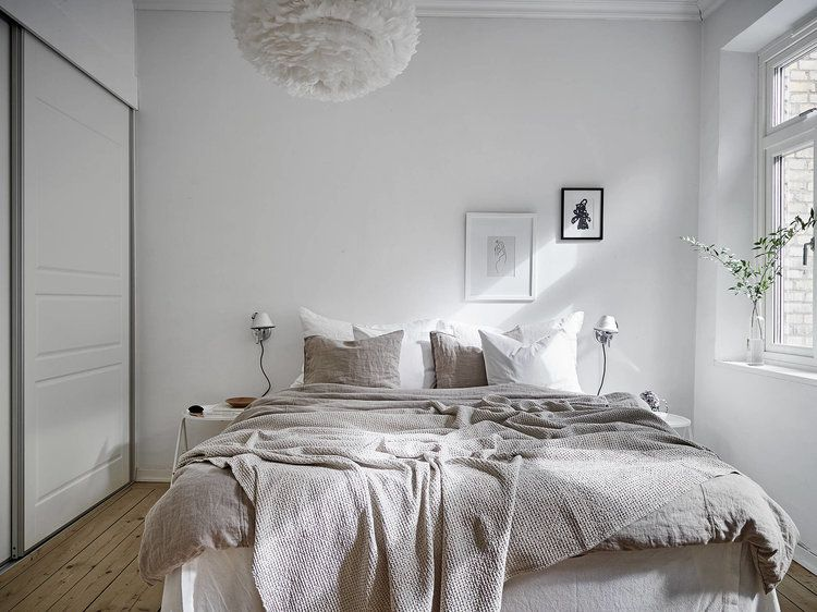 A bedroom in neutral shades is part of bedroom Interior Neutral - I love when I get to find neutral spaces  Even better when it comes to the bedroom  I think the night place must have to be visually clean and warm  Shades of beige are the most used in these days in the Scandinavian styling  In this bedroom, they kept the furniture to the minimal with neutral tones