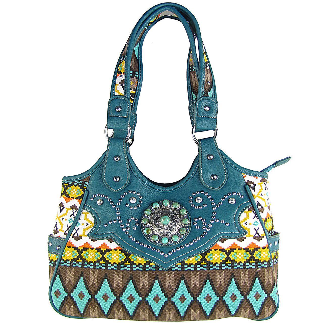9011629c33b5 Turquoise tribal flower look shoulder handbag new concealed carry ...