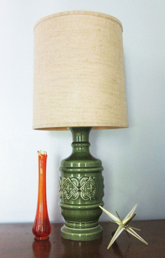 Vintage Ceramic Lamp Green Pottery Table Lamp Retro 70s By  AmbassadorGrooviness