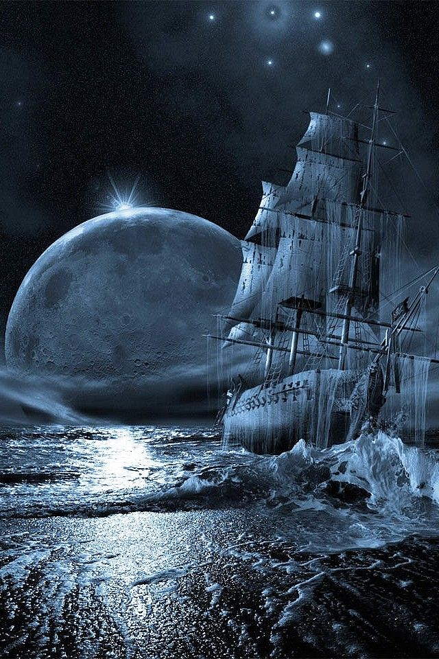 cc 3d iphone wallpapers clipper ship and moon black night boats