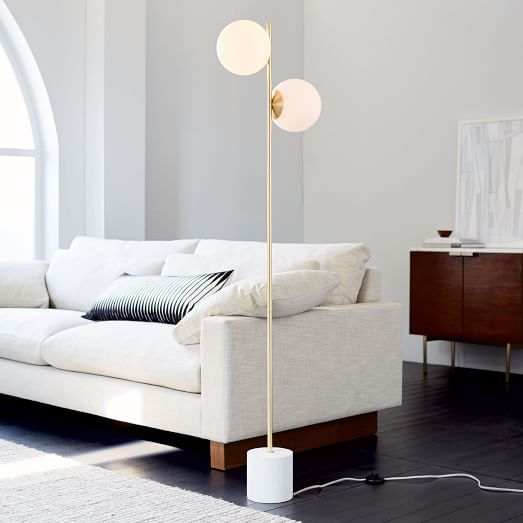 Sphere Stem 2 Light Floor Lamp Brass Floor Lamp Floor Lamps Living Room Globe Floor Lamp