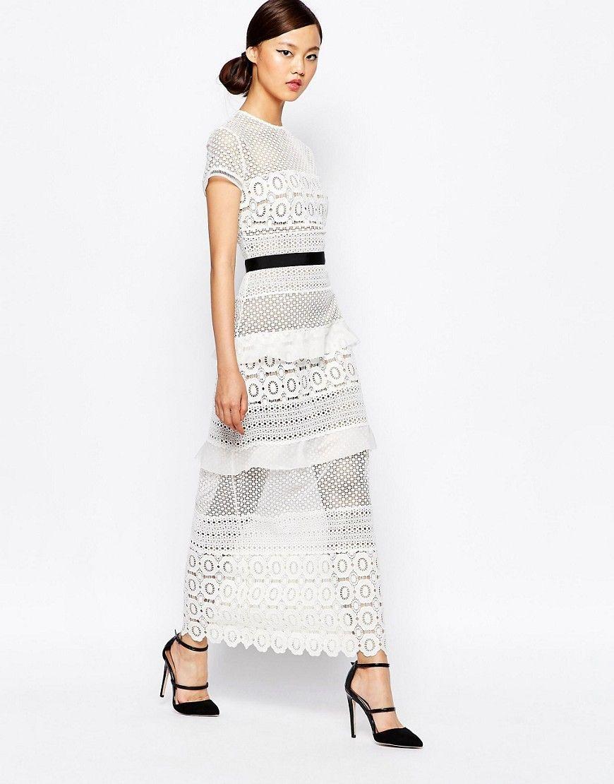 8ef5071c553e7 Self Portrait Oblique Lace Column Midi Dress | Wearables ~ | White ...