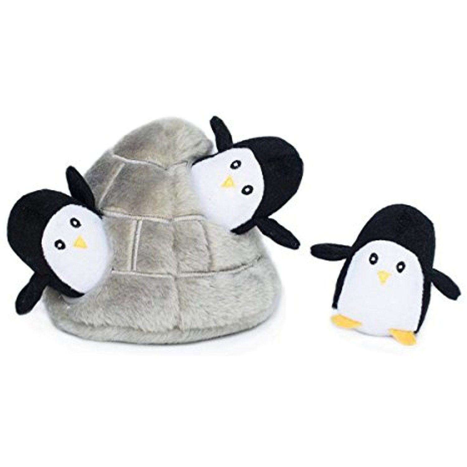 Zippy Burrow Penguin Cave Squeaky Plush Hide And Seek Dog Toy