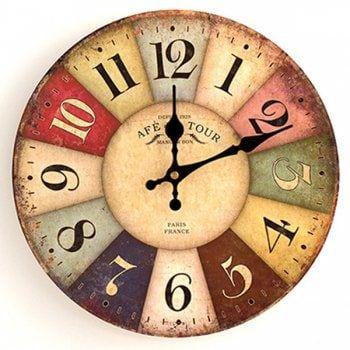 Europe Vintage Analog Mute Round Wood Wall Clock Retro Wall Clock Wood Wall Clock Vintage Wall Clock