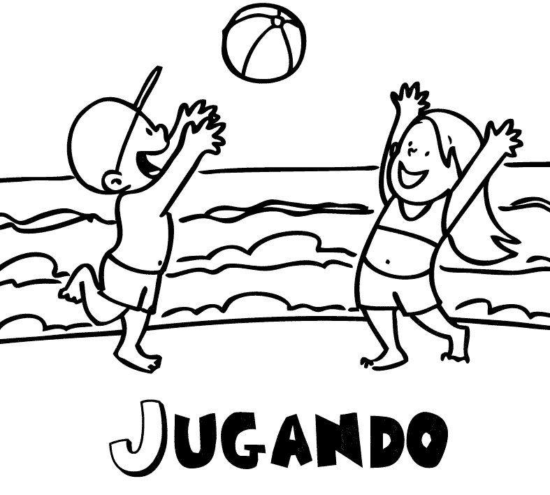Dibujo para imprimir y colorear de niños jugando en la playa | mural ...