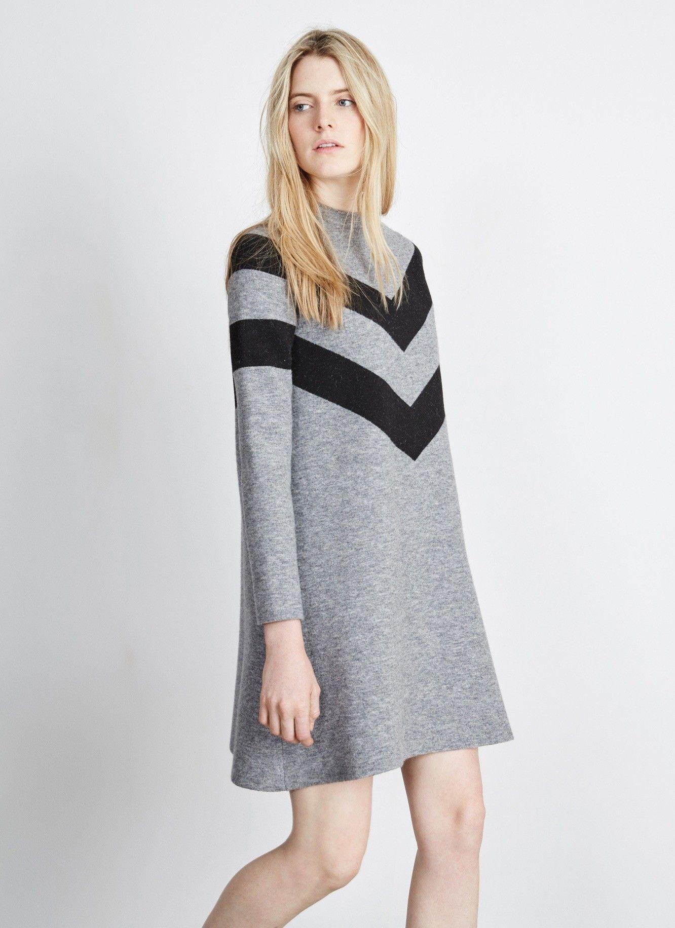 Vestido de lana con dibujo geométrico - Vestidos | Adolfo Dominguez shop online