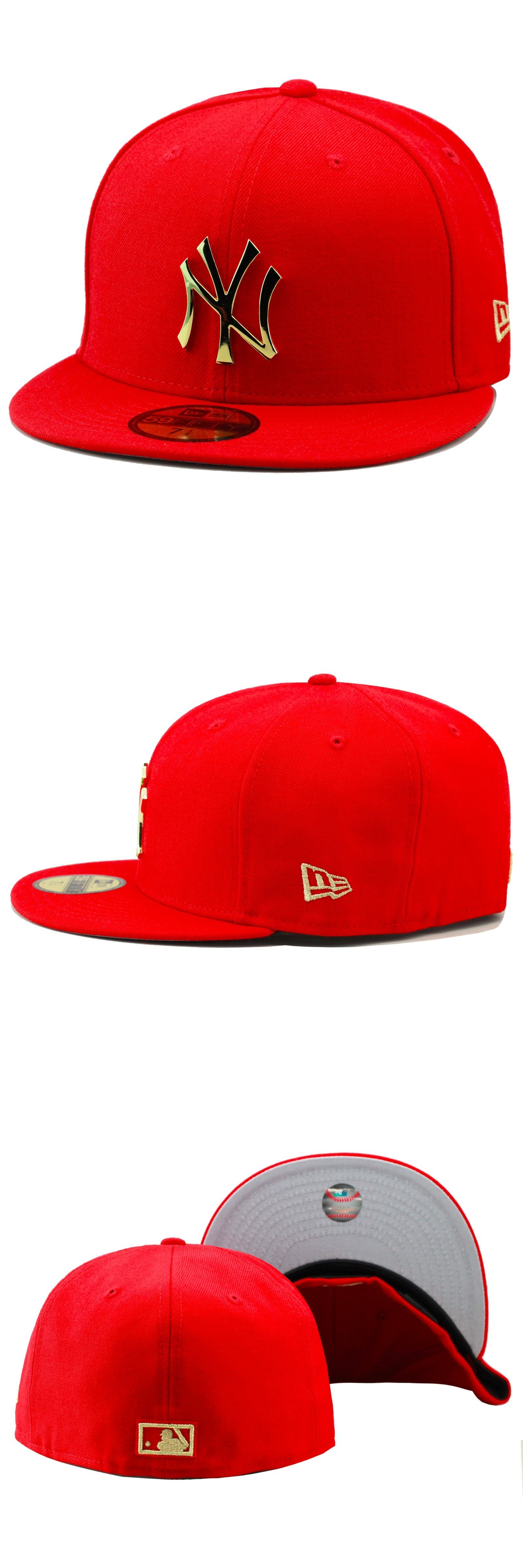 149bf740f64ec Hats 52365  New Era New York Yankees Fitted Hat Cap Red Gold Badge For Foamposite  1 Supreme -  BUY IT NOW ONLY   59 on eBay!