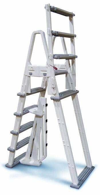 Vinyl Snap-Lock Above Ground Pool Deck Ladder Gray