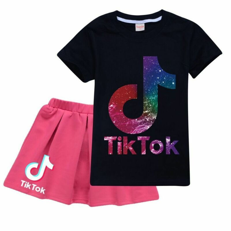 Girls TIK Tok Top T-Shirt with Shorts 2pcs Set of Tracksuit