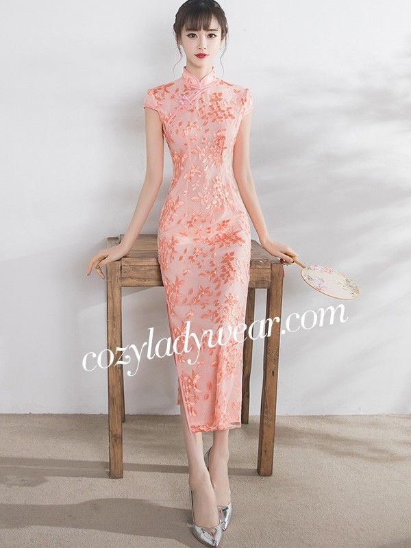 Romance Pink Embroidered Qipao / Cheongsam Maxi Dress - CozyLadyWear ...