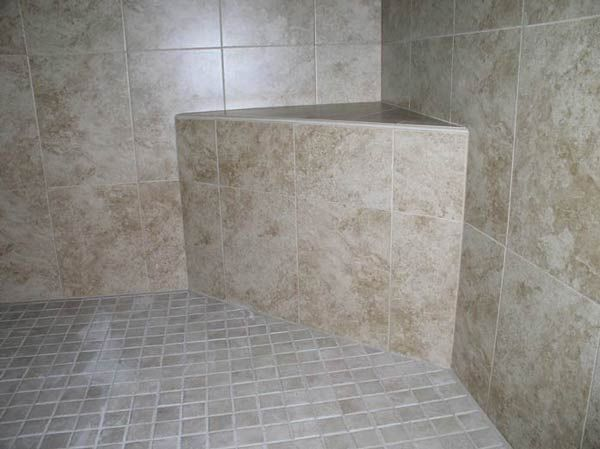 Tiled Shower Seat Bench Made From Cement Mortar Tile Your World Corner Shower Seat Shower Seat Shower Bench