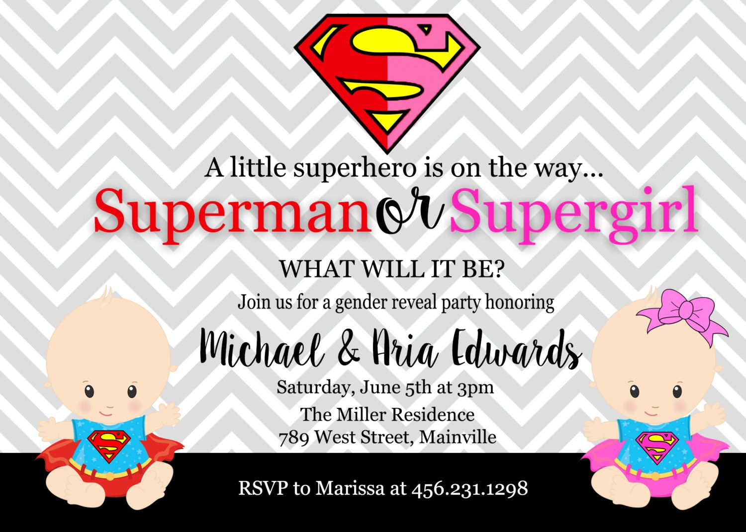 Superman Supergirl, Superhero, Baby Shower, Gender Reveal, Invitation,  Party, Boy