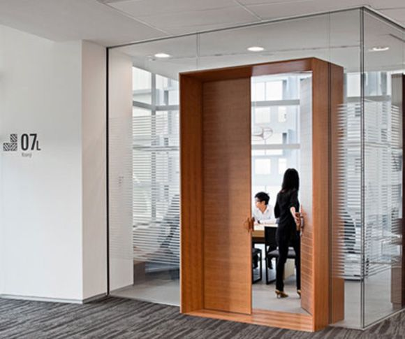 Entrance door wood glass nice material mix interior for Office main door design