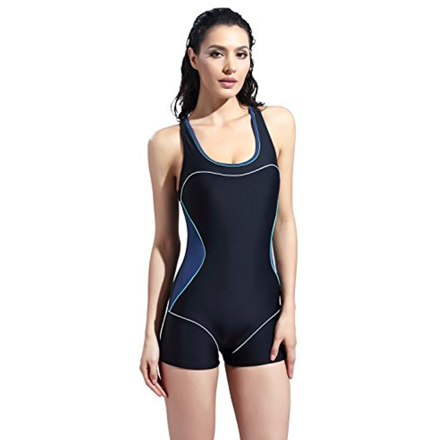 078c3f2f09 RELTANGL Women's One Piece Boxer Boyleg Swimsuit Slimming Racerback  Halterneck Athletic Swimwear Tankini *** Check out this great product.