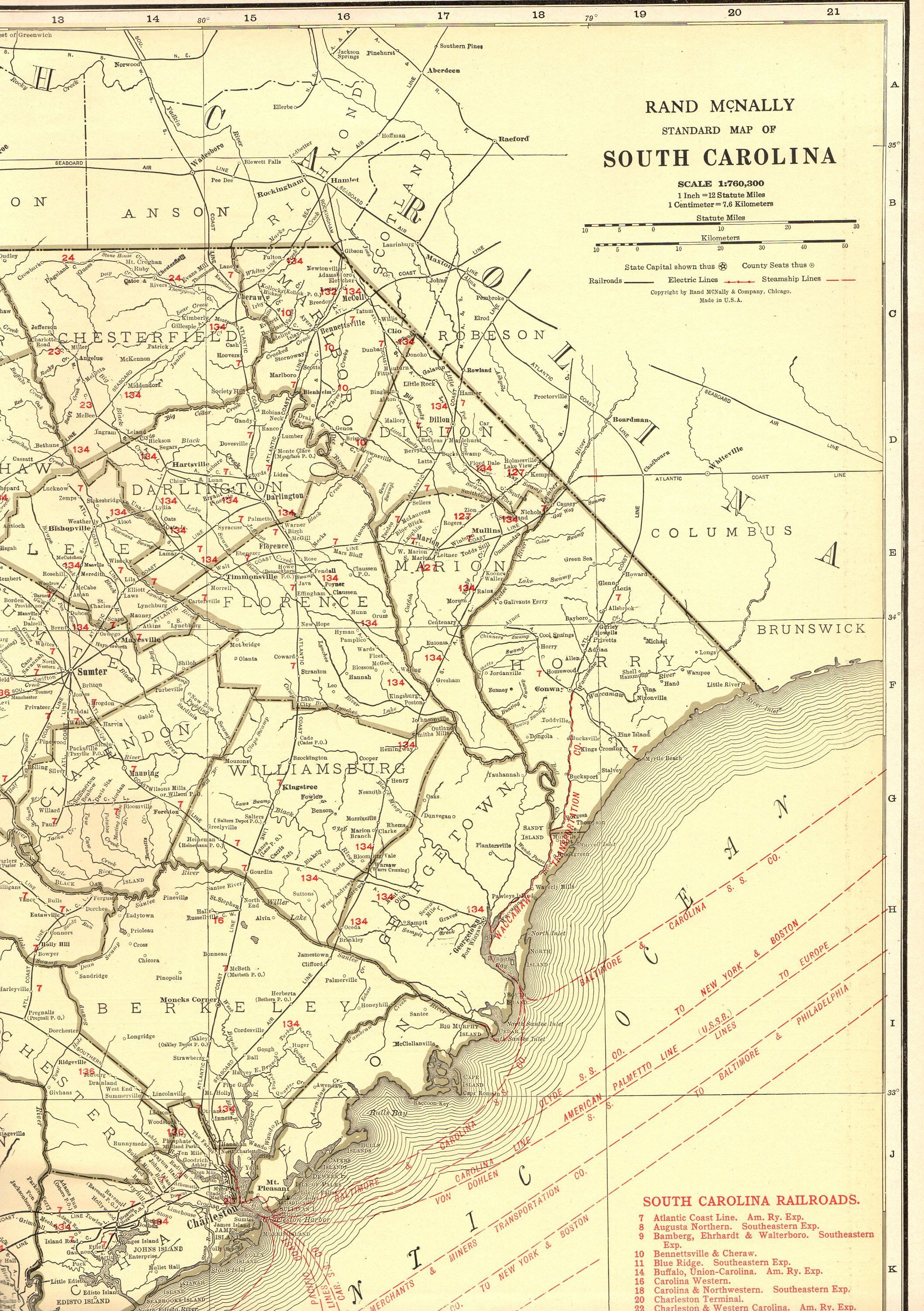 1927 Rare Size Antique SOUTH CAROLINA Poster Size Vintage Map of ...