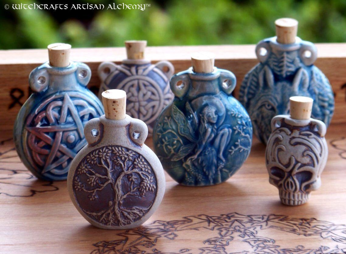 ARTISAN ALCHEMIST™ Raku Style Fired Clay or Ceramic Potion Bottle for Spell Oils, Potions, Ashes, Incense Powders, Pendant - Your Choice by ArtisanWitchcrafts on Etsy https://www.etsy.com/listing/112649821/artisan-alchemist-raku-style-fired-clay