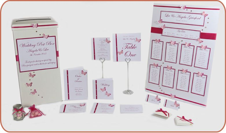 Different ideas for designing the table numbers , place cards and table plan , love the use of ribbon but have it all purple