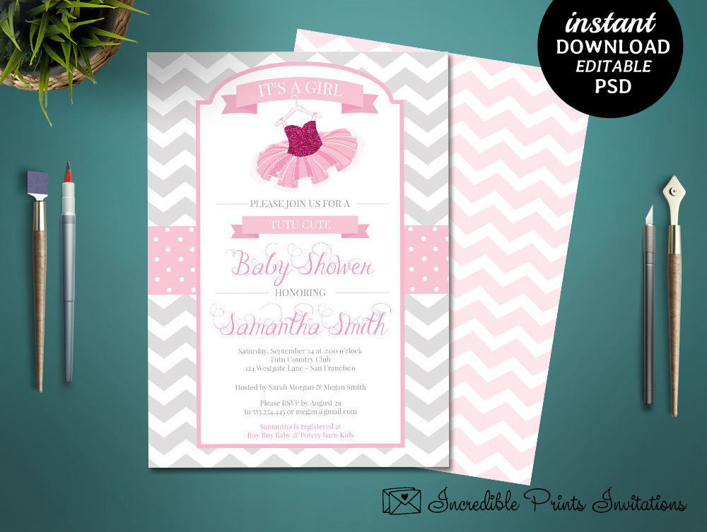TUTU Baby Shower Invitation Template Printable Girl Baby Shower - Baby shower invitations templates editable girl