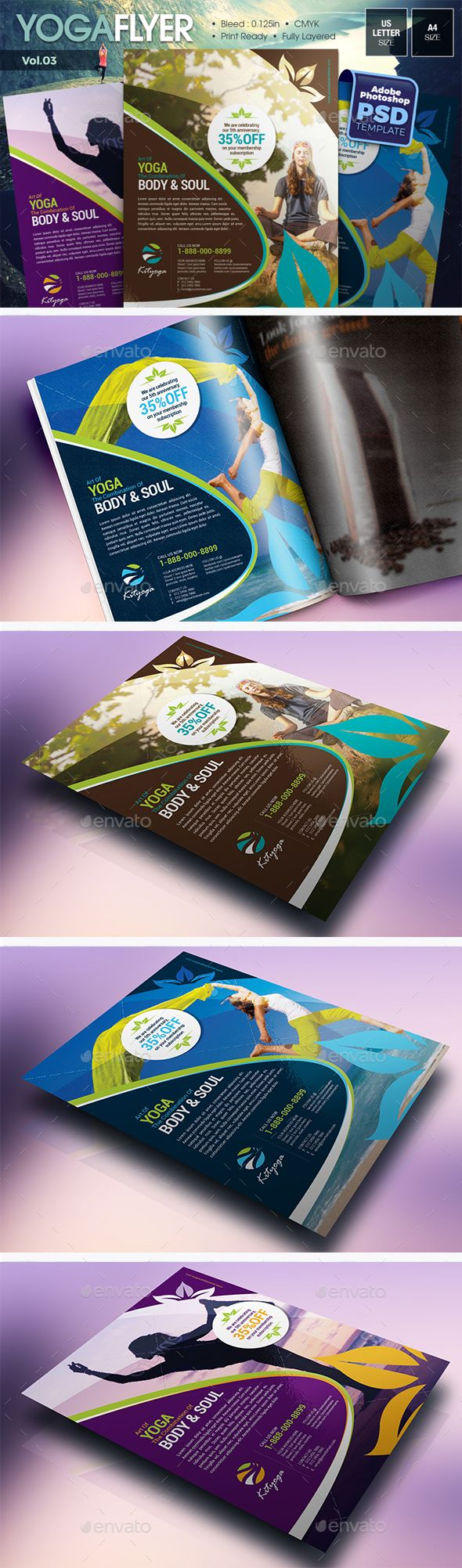 Simple Yoga Flyer Vol.03 | Simple yoga, Flyer template and Yoga