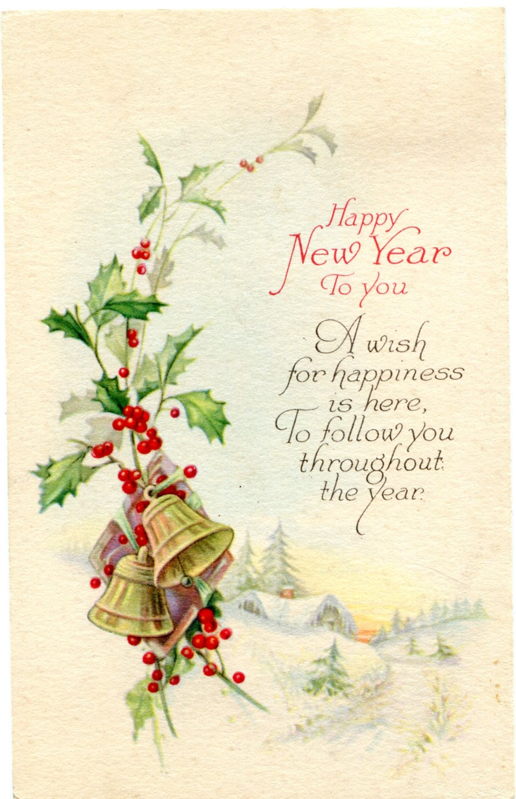 Vintage Happy New Year Postcard Graphic Image Vintage