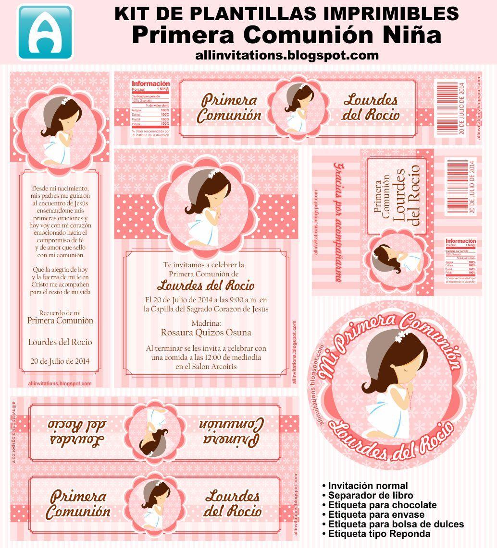 Kit imprimible para primera comunión de niña en en tono salmon ...