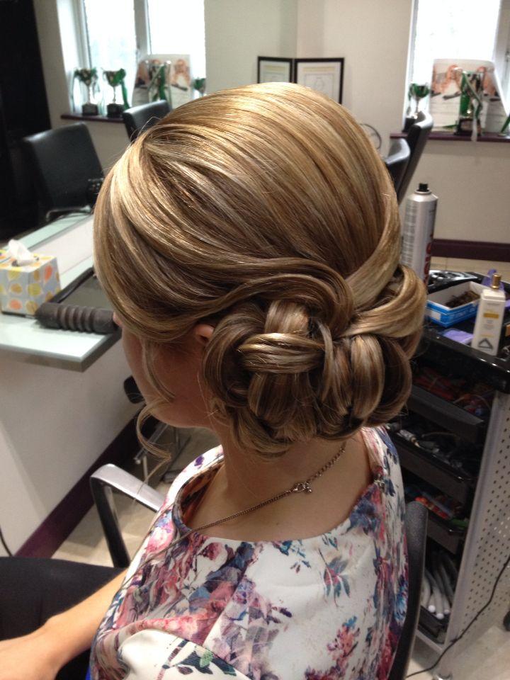 Upstyle To The Side Sleek Blond Hair Long Hair Designs Hair Styles Wedding Hairstyles