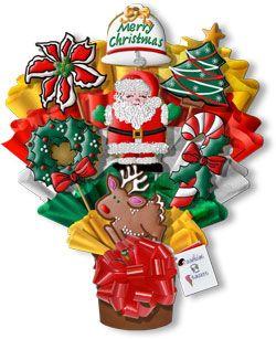 Feliz Navidad Mano Decorado Cookies Ramo cesta de regalo ornamento para reyes magos, bastón de caramelo, Santa Claus, Corona
