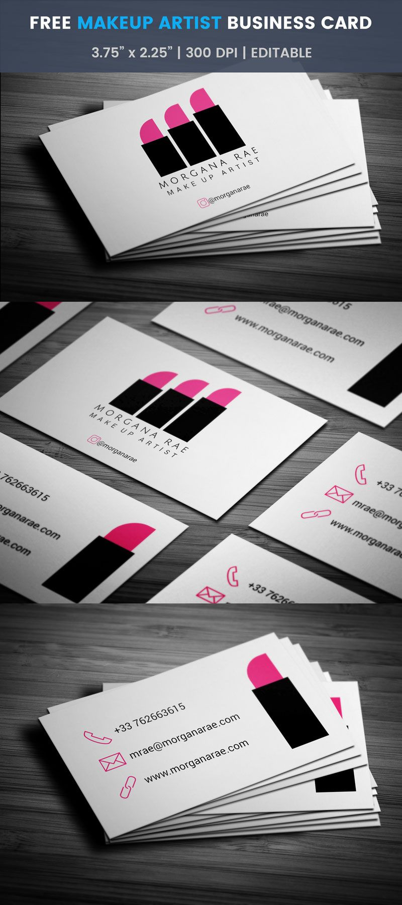 Minimal makeup artist business card full preview free business free minimal makeup artist business card template reheart Image collections