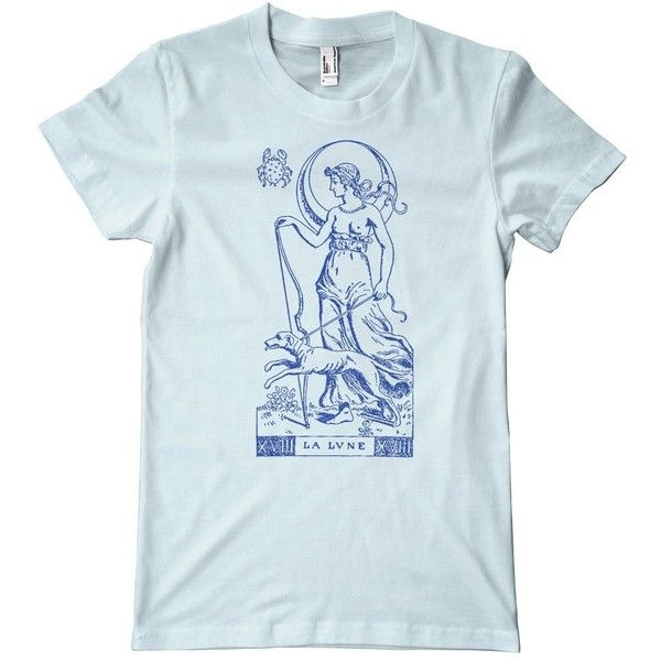 3ef221e16ca68 Tarot Card Series La Lune American Apparel T-Shirt ( 24) ❤ liked on Polyvore  featuring tops