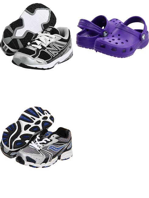 KJ688 (Infant/Toddler) by New Balance Kids, Classic (Infant/Toddler/Youth) by Crocs Kids, Baby Cohesion 5 LTT (Infant/Toddler) by Saucony Kids    Two for a kid that wears them out quickly and one for the other kid, because of the color.