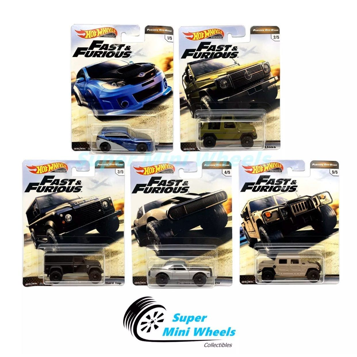 2019 Hot Wheels 1//64 Fast and Furious 5 Cars Pack 1//64 Diecast Model Cars