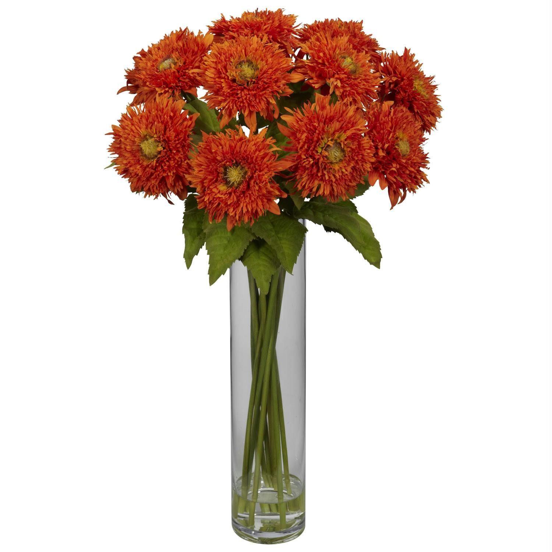 Sunflower W Cylinder Silk Flower Arrangement