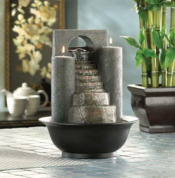 zimmerbrunnen-mit-wasserfall-elegantes-design-wunderschöne - teich wasserfall modern selber bauen