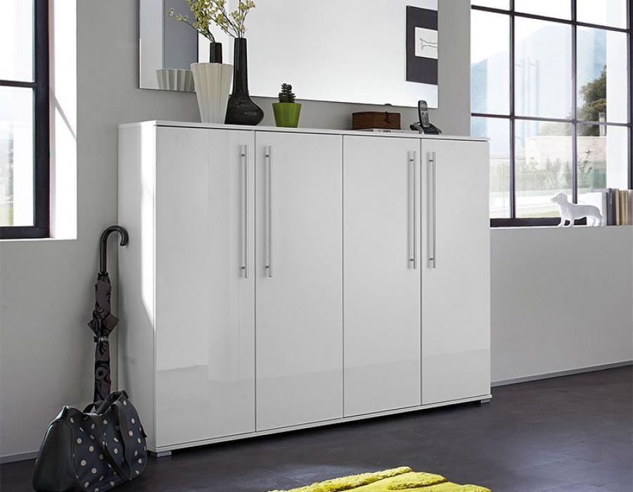 Inside Contemporary 4 Door High Gloss White Shoe Cabinet By Germania