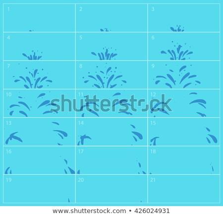 Vector Water Splash Sequence Animation Sprite Sheet Blue