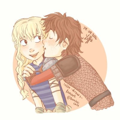 Hiccstrid cheek kiss or Cute Hiccstrid moment by leffie-draws-fanart