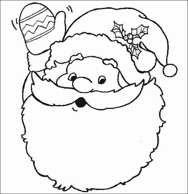 Waving Santa Face Color Sheet Printable Christmas Coloring