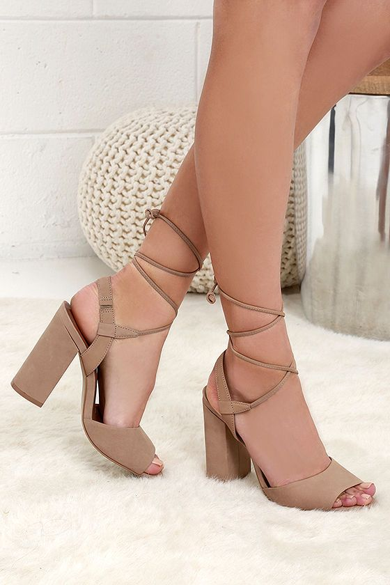 2e5a5f15a0b Steve Madden Serrina Camel Leather Lace-Up Heels in 2019 | Steve ...